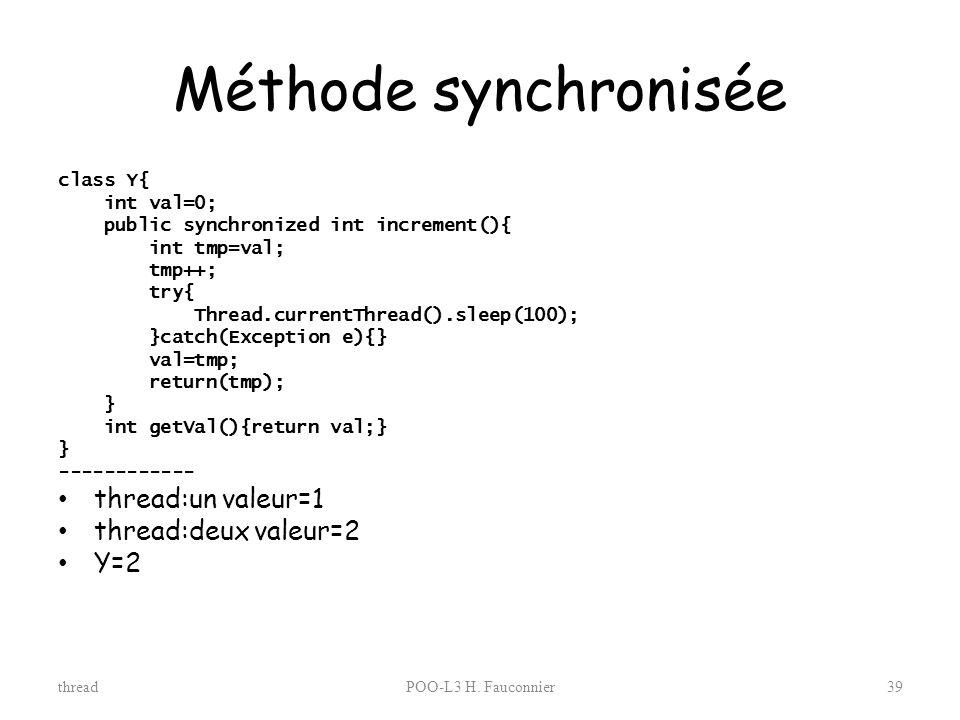 Méthode synchronisée thread:un valeur=1 thread:deux valeur=2 Y=2
