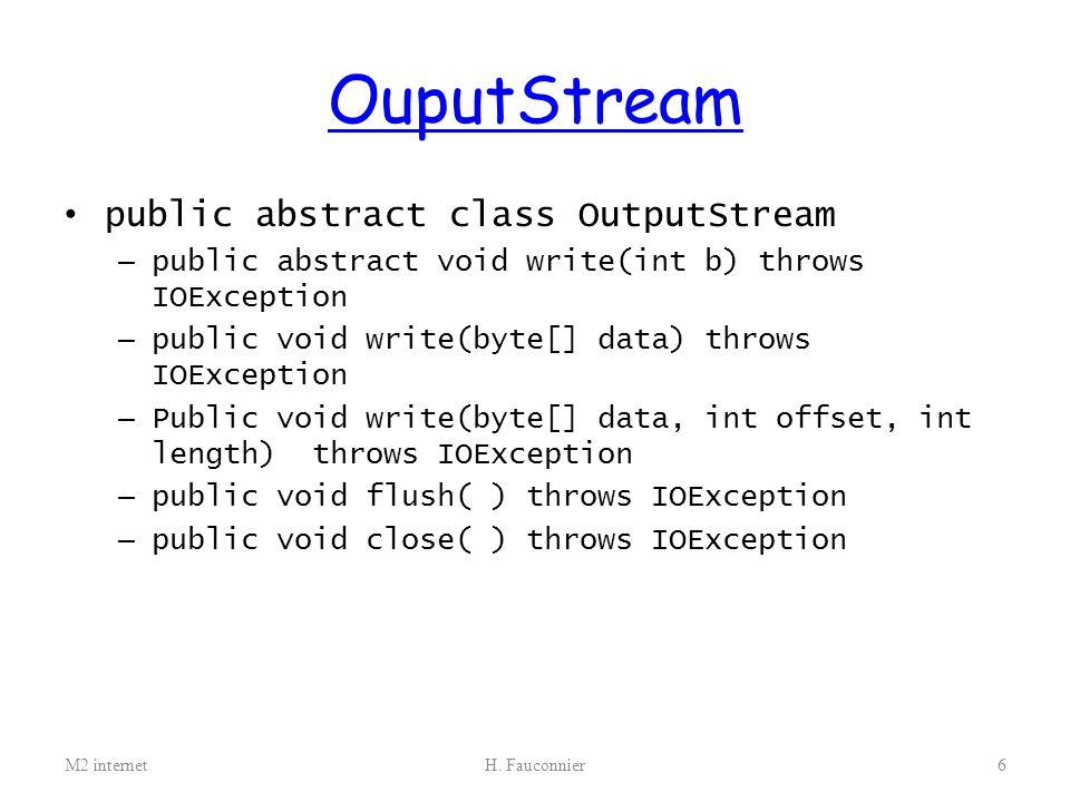 OuputStream public abstract class OutputStream