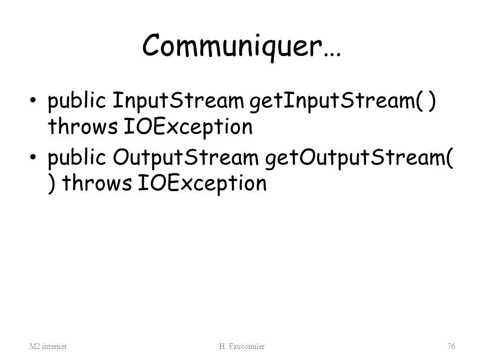 Communiquer… public InputStream getInputStream( ) throws IOException