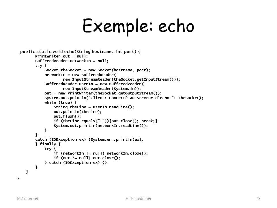 Exemple: echo M2 internet H. Fauconnier