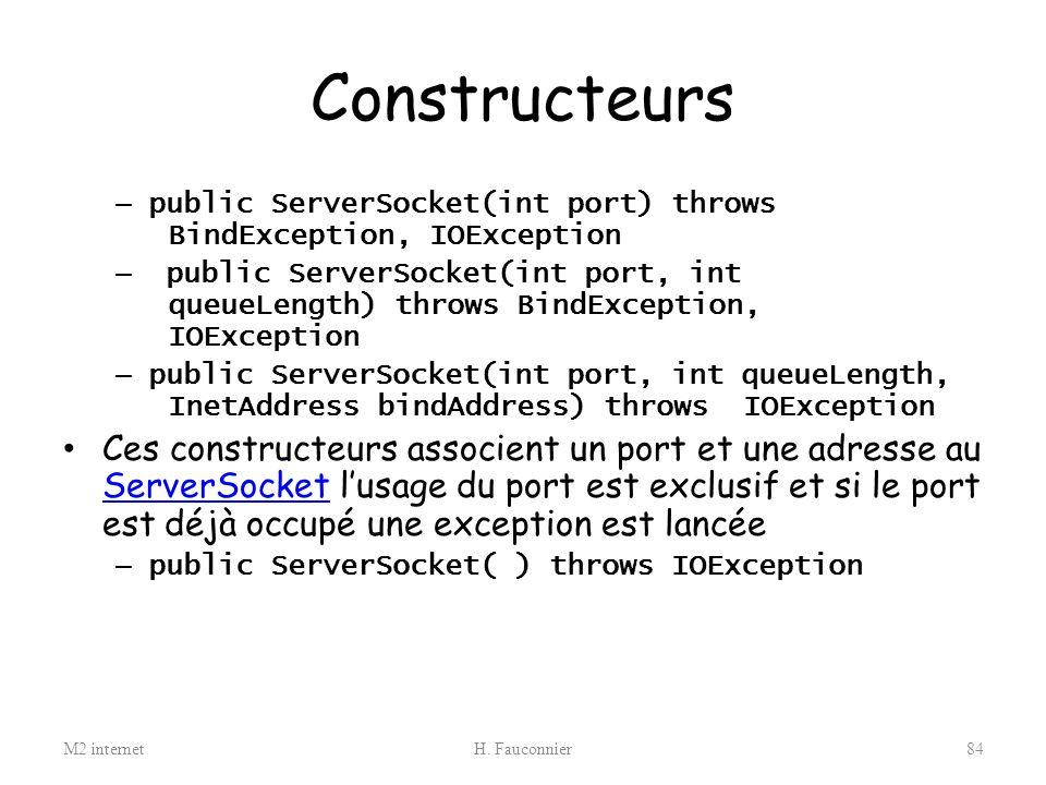Constructeurs public ServerSocket(int port) throws BindException, IOException.