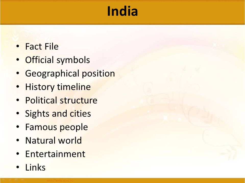 India Fact File Official symbols Geographical position