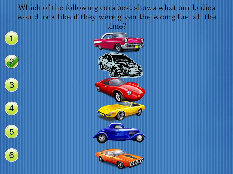 Which of the following cars best shows what our bodies would look like if they were given the wrong fuel all the time