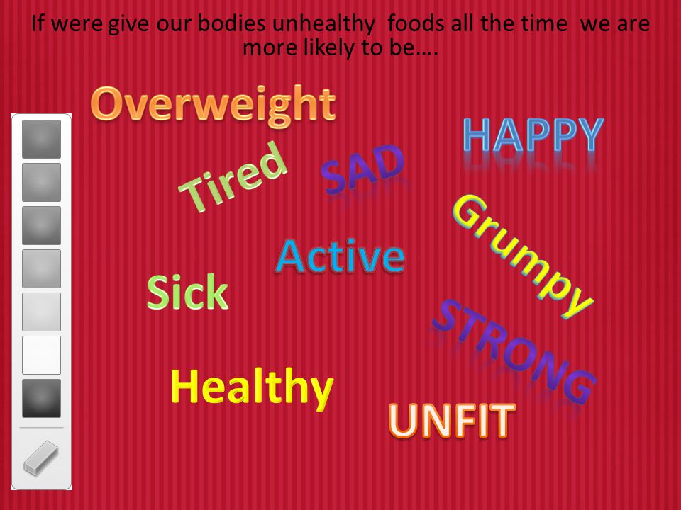Overweight Happy sad Tired Active Grumpy Sick Strong Healthy UNFIT