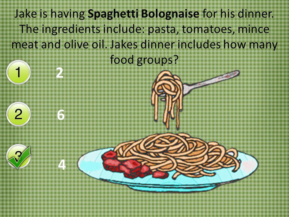 Jake is having Spaghetti Bolognaise for his dinner