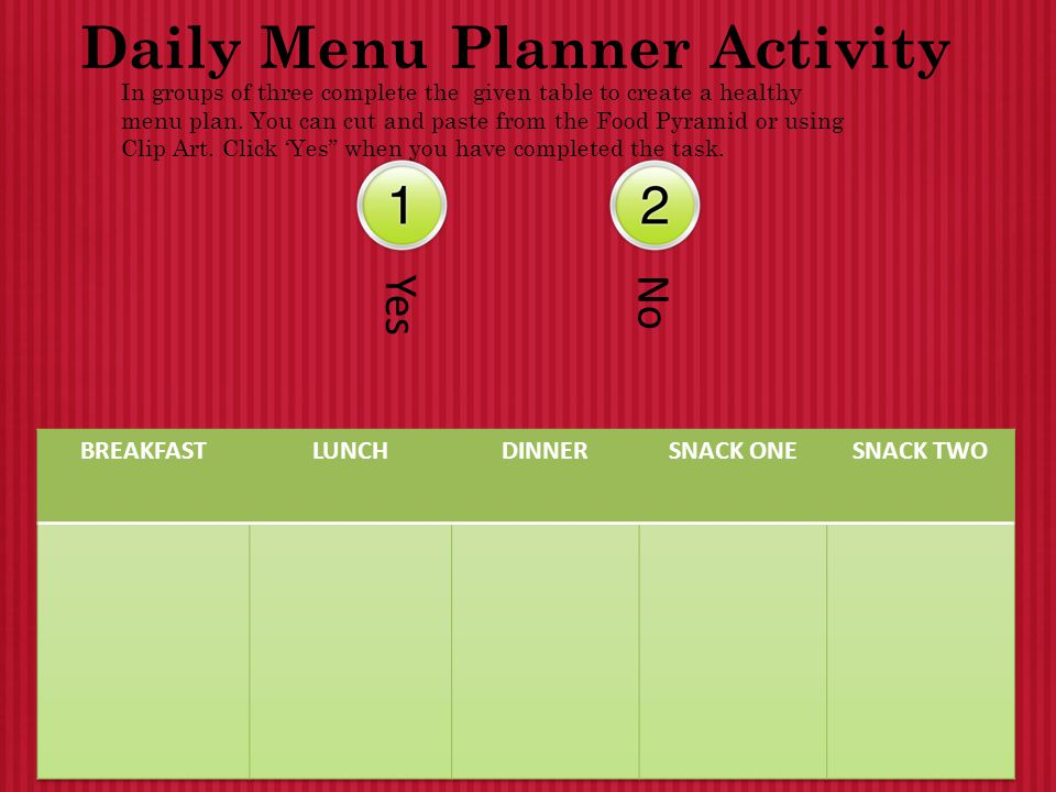 Daily Menu Planner Activity