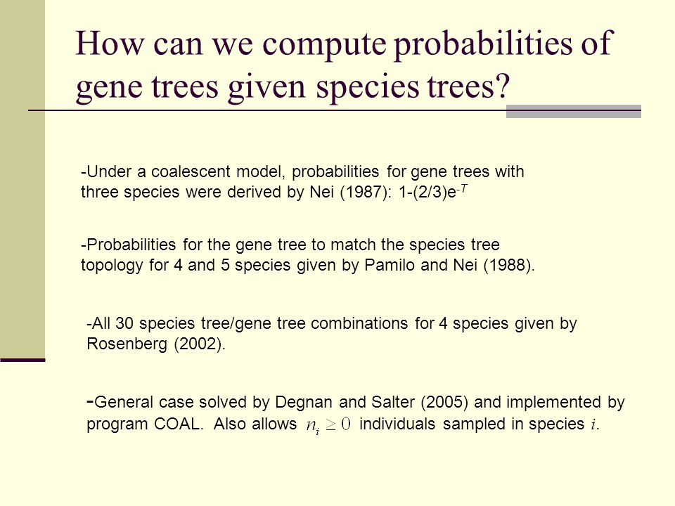 How can we compute probabilities of gene trees given species trees
