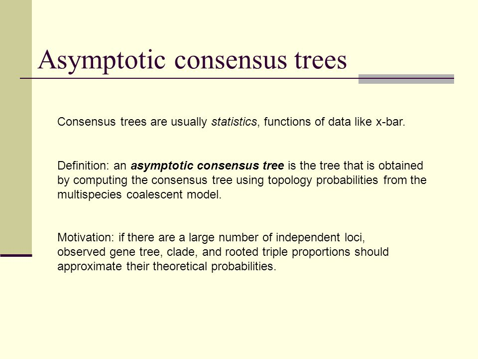 Asymptotic consensus trees