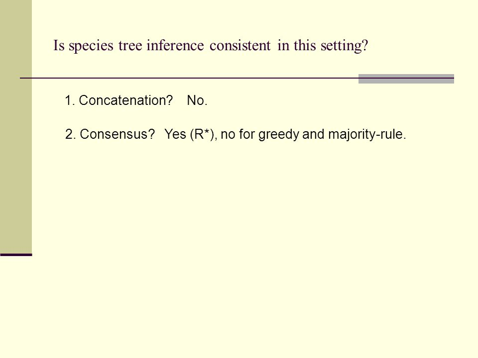 Is species tree inference consistent in this setting