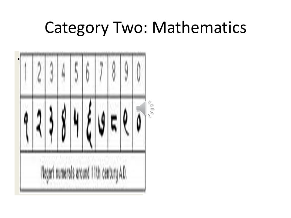 Category Two: Mathematics