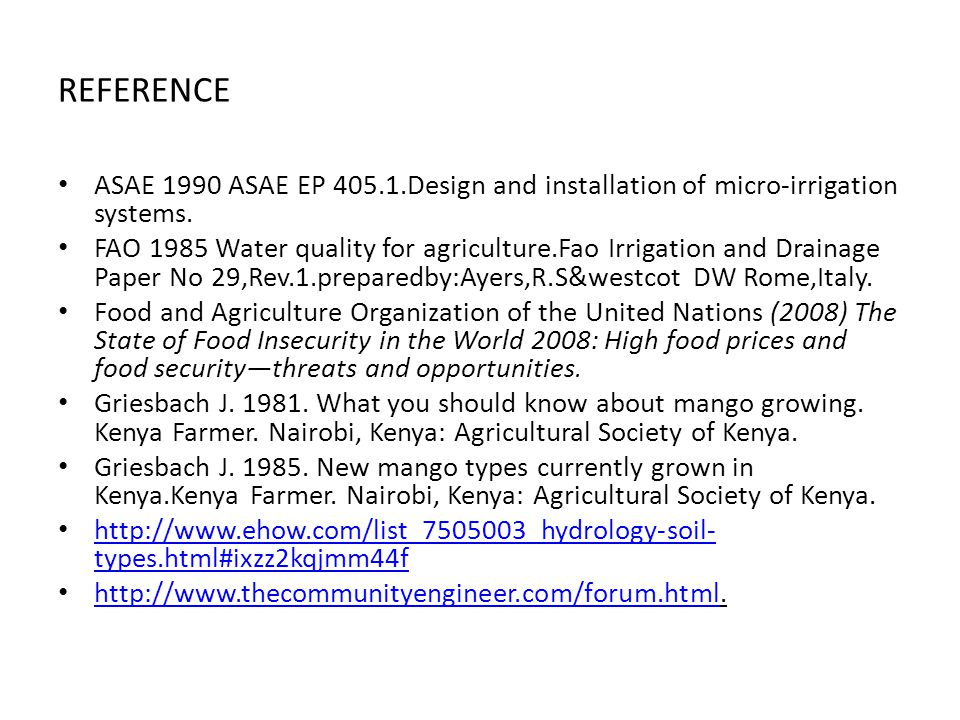 REFERENCE ASAE 1990 ASAE EP 405.1.Design and installation of micro-irrigation systems.