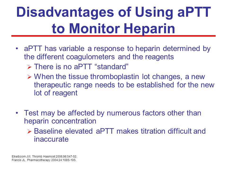 Disadvantages of Using aPTT to Monitor Heparin