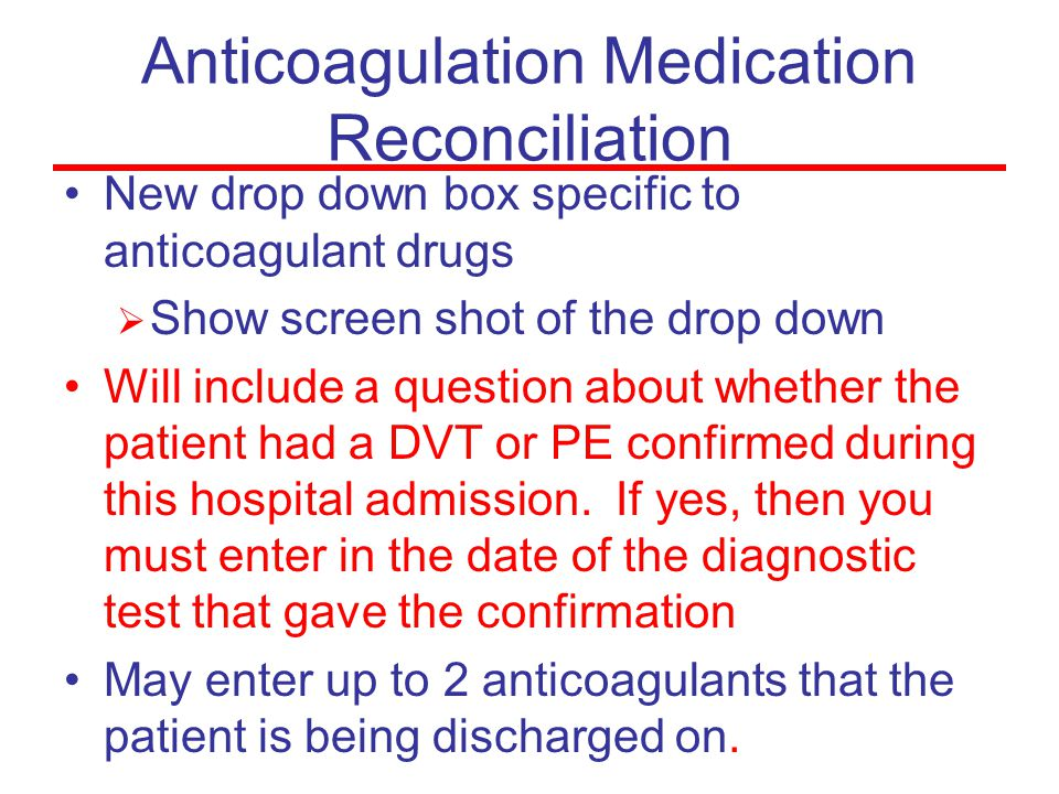 Anticoagulation Medication Reconciliation