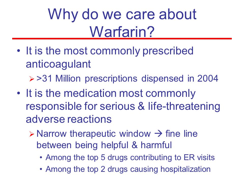 Why do we care about Warfarin