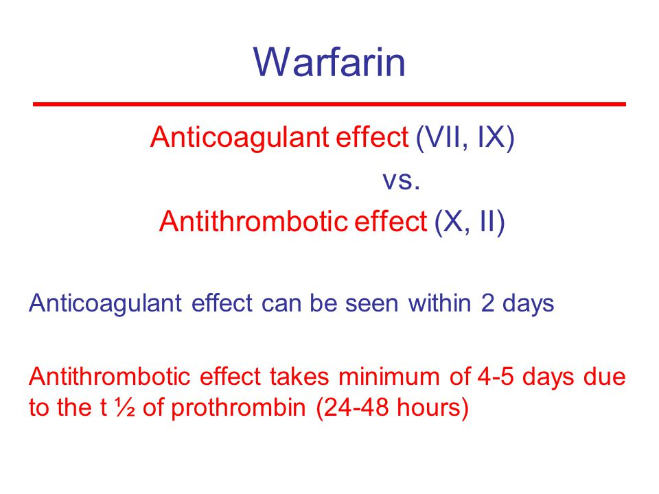 Warfarin Anticoagulant effect (VII, IX) vs.
