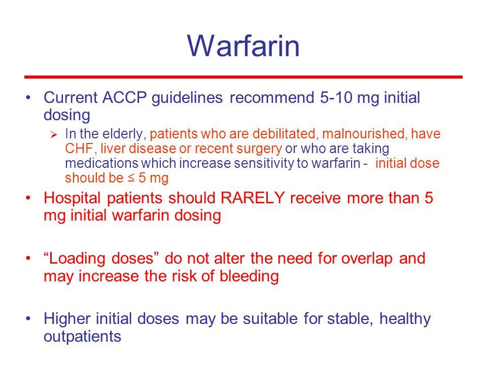 Warfarin Current ACCP guidelines recommend 5-10 mg initial dosing