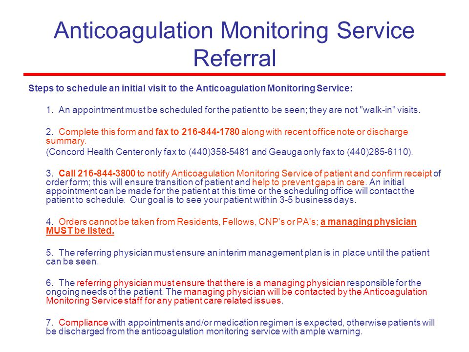 Anticoagulation Monitoring Service Referral