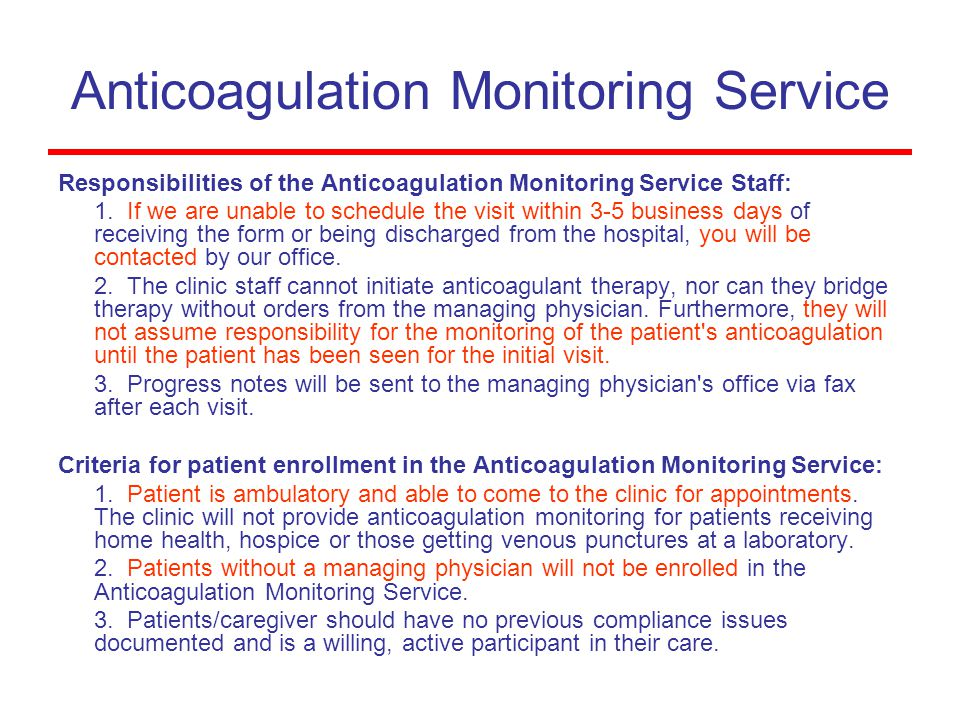 Anticoagulation Monitoring Service
