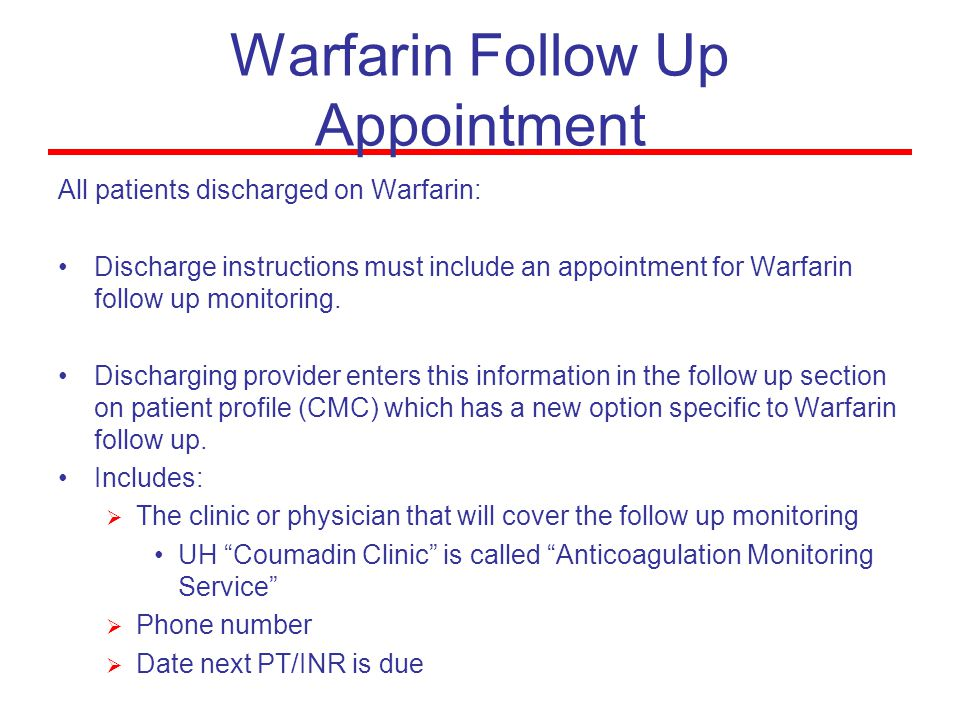 Warfarin Follow Up Appointment