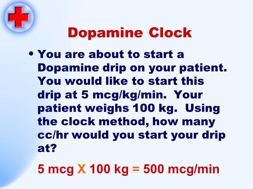 Dopamine Clock 5 mcg X 100 kg = 500 mcg/min