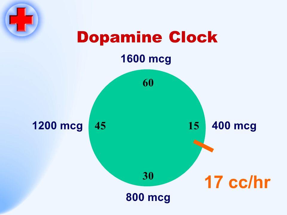 Dopamine Clock 1600 mcg 60 15 30 45 1200 mcg 400 mcg 17 cc/hr 800 mcg