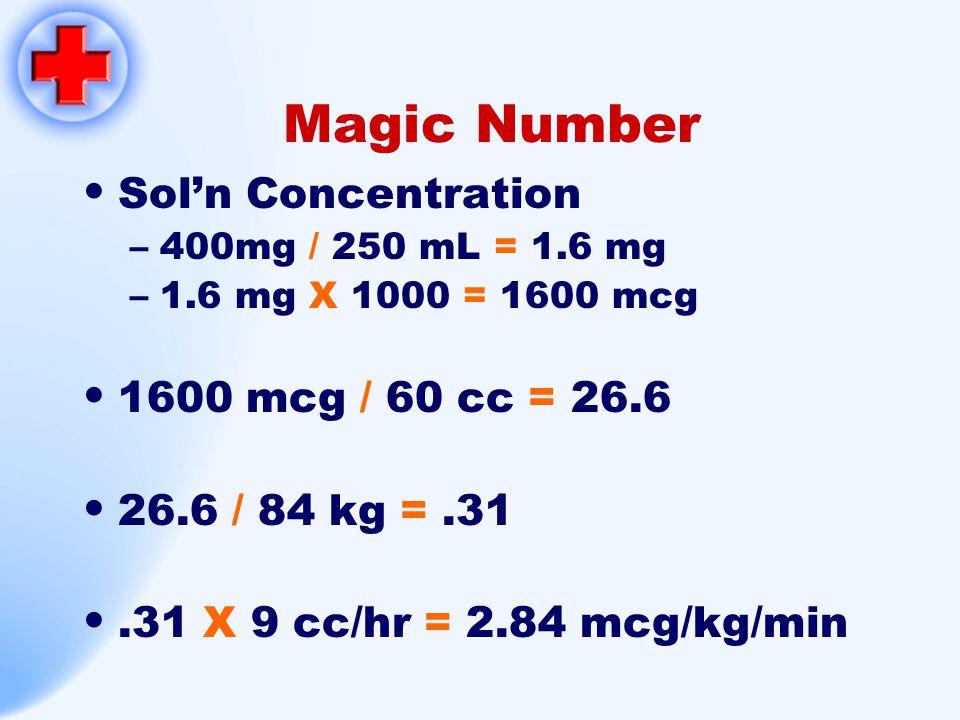 Magic Number Sol'n Concentration 1600 mcg / 60 cc = 26.6