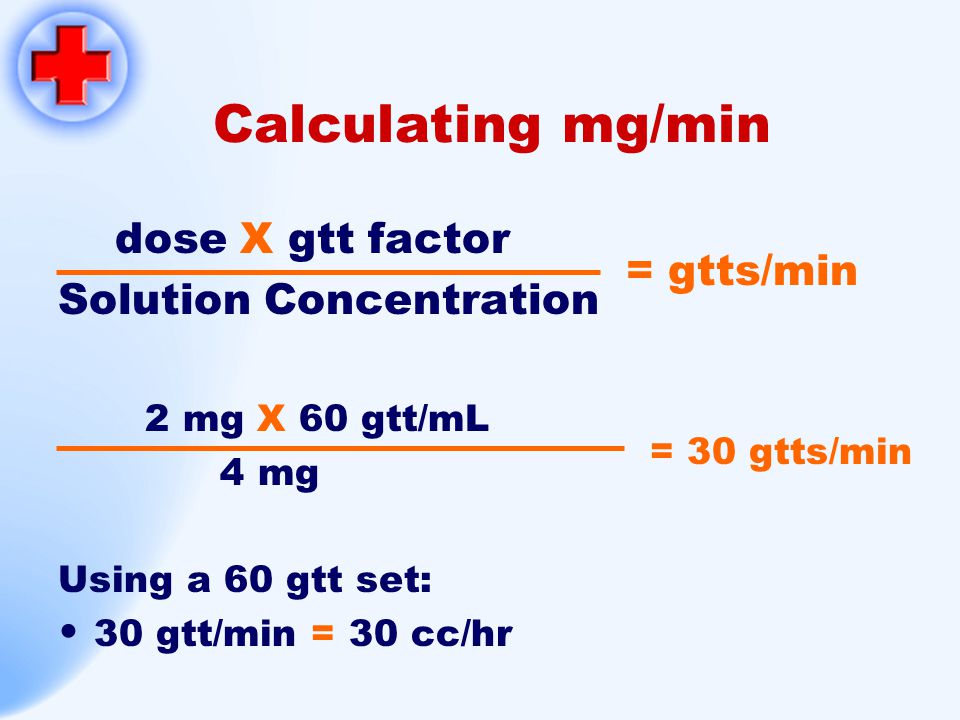 Calculating mg/min dose X gtt factor Solution Concentration = gtts/min