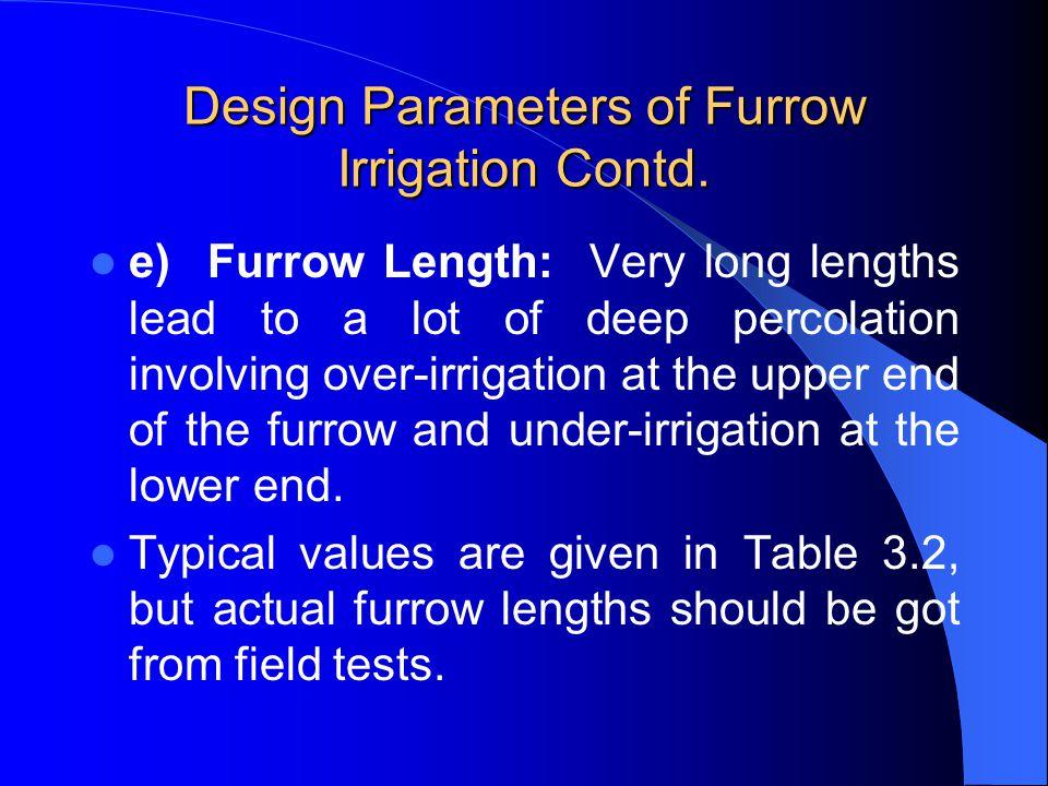 Design Parameters of Furrow Irrigation Contd.