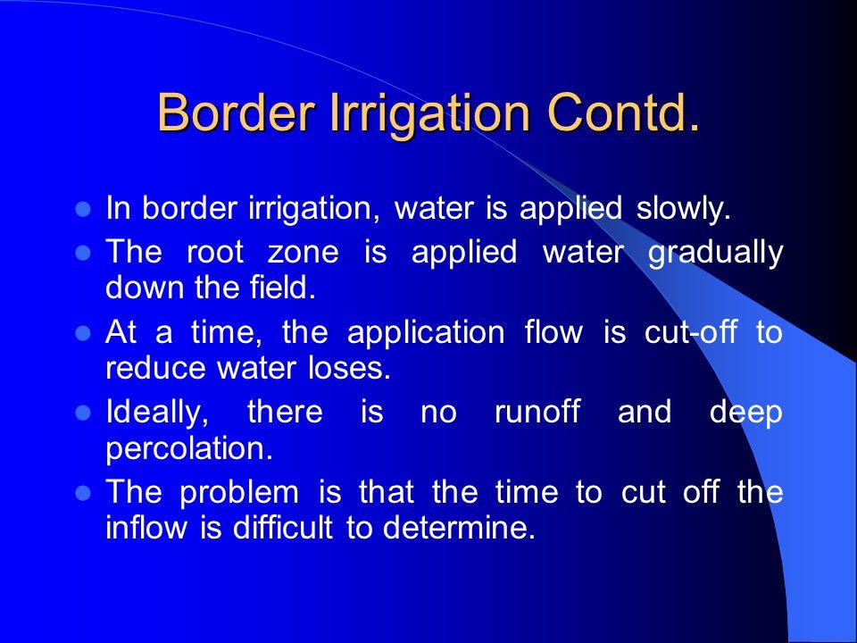 Border Irrigation Contd.