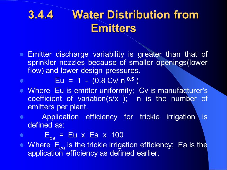 3.4.4 Water Distribution from Emitters