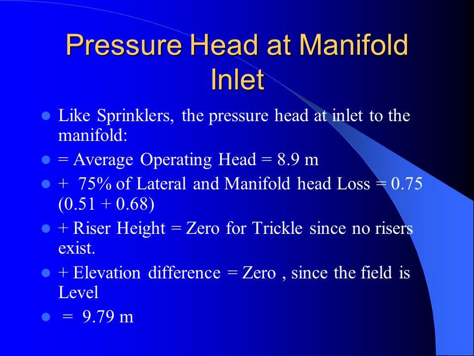 Pressure Head at Manifold Inlet