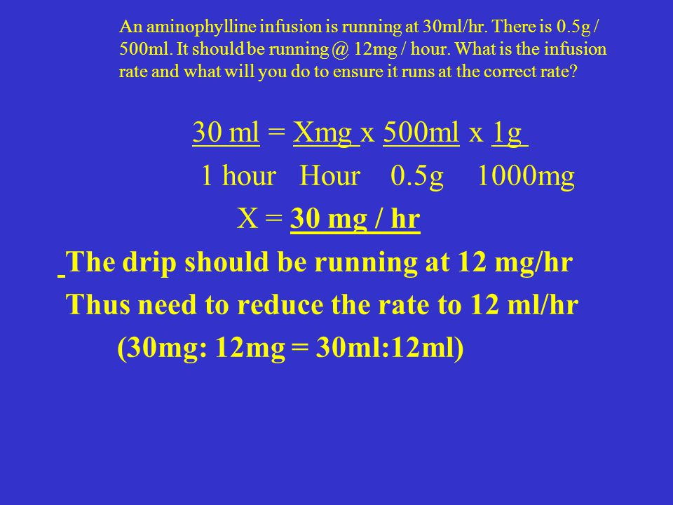 The drip should be running at 12 mg/hr