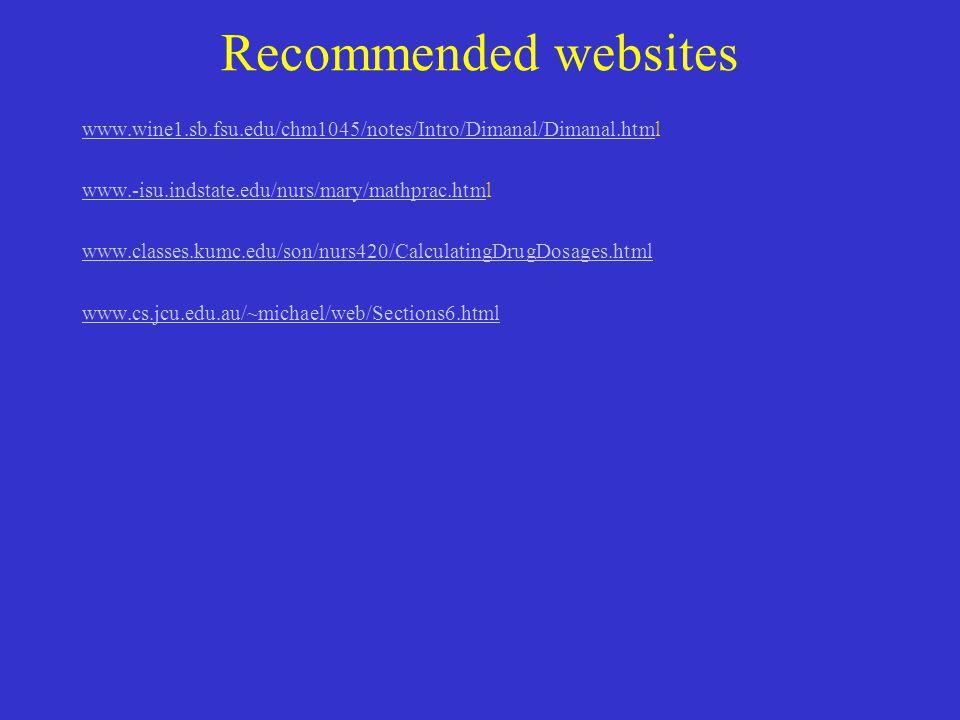Recommended websites www.wine1.sb.fsu.edu/chm1045/notes/Intro/Dimanal/Dimanal.html. www.-isu.indstate.edu/nurs/mary/mathprac.html.