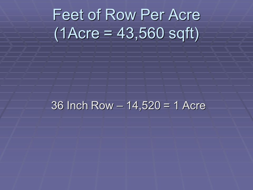 Feet of Row Per Acre (1Acre = 43,560 sqft)