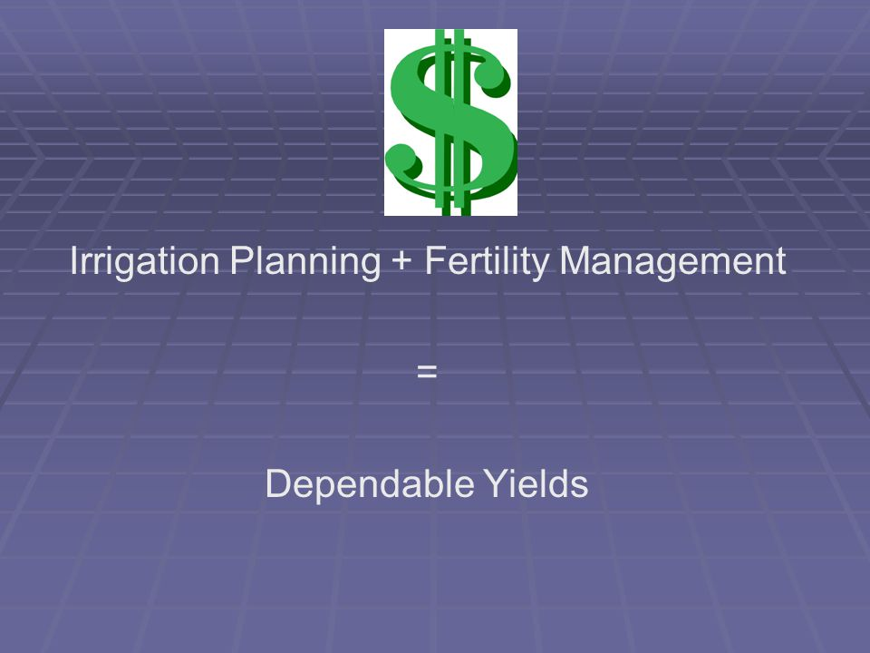 Irrigation Planning + Fertility Management