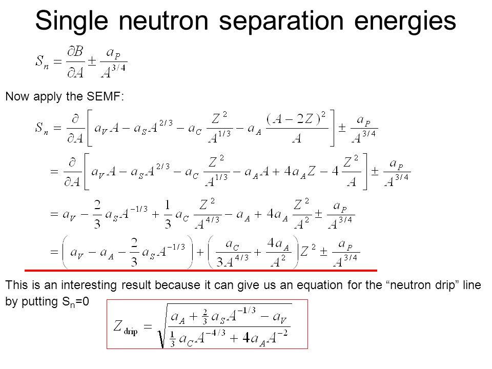 Single neutron separation energies