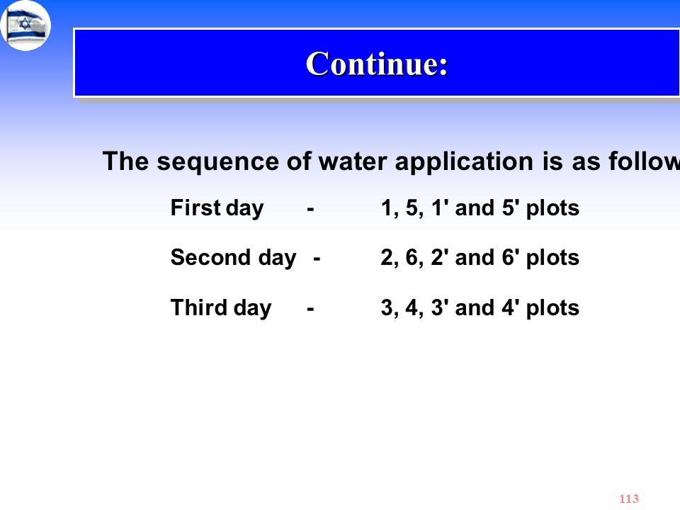 Continue: The sequence of water application is as follows: