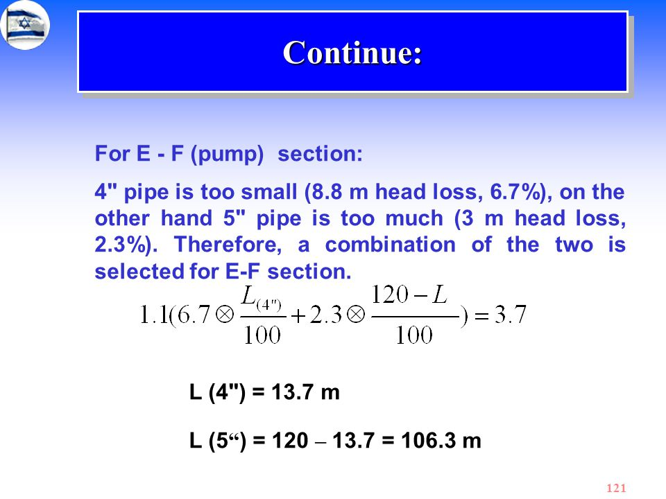 Continue: For E - F (pump) section:
