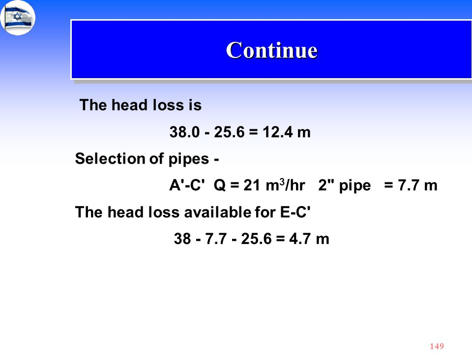 Continue The head loss is 38.0 - 25.6 = 12.4 m Selection of pipes -
