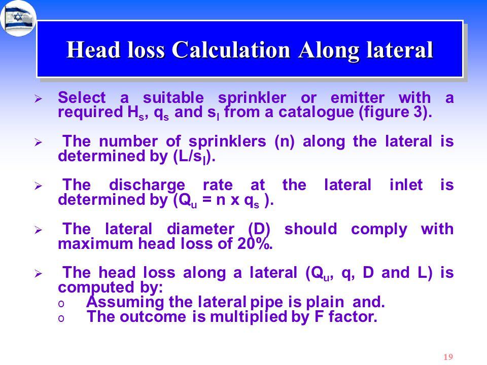 Head loss Calculation Along lateral