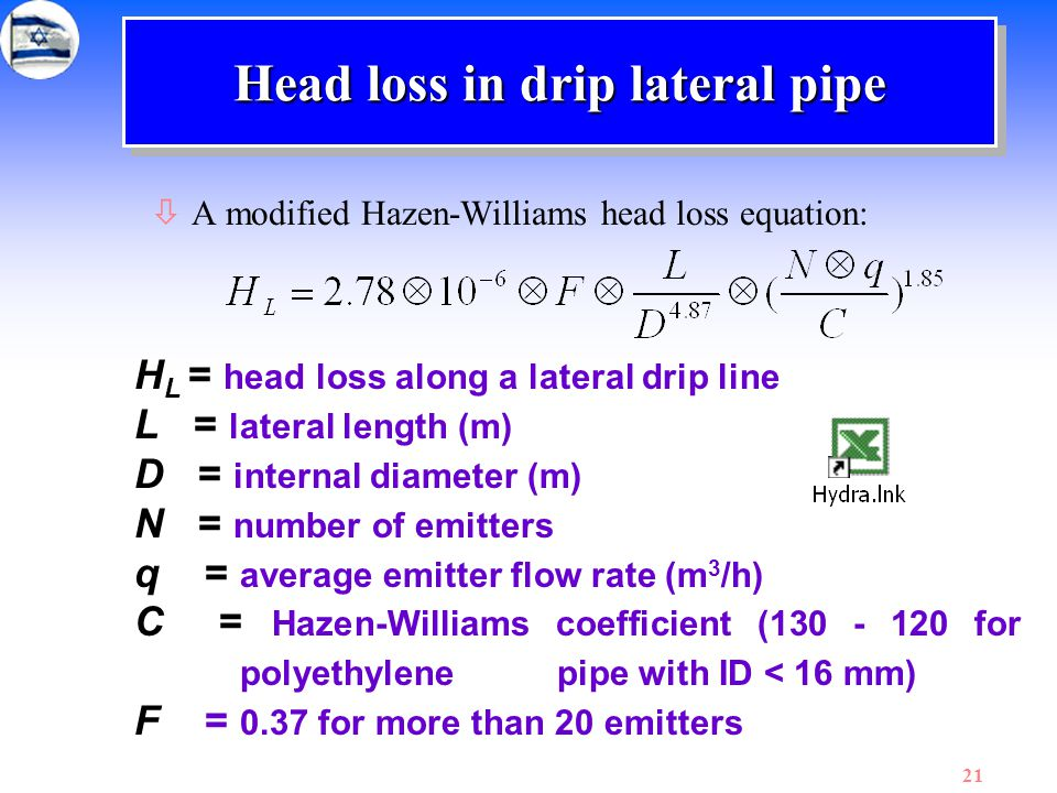 Head loss in drip lateral pipe