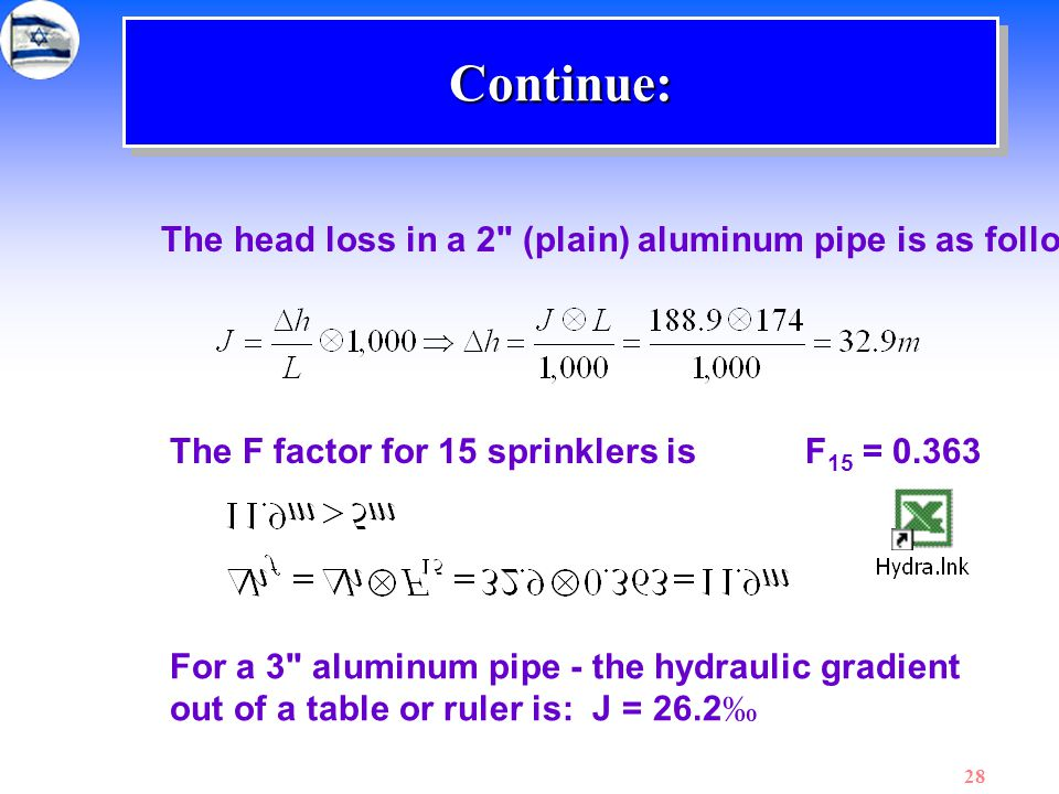 Continue: The head loss in a 2 (plain) aluminum pipe is as follows:
