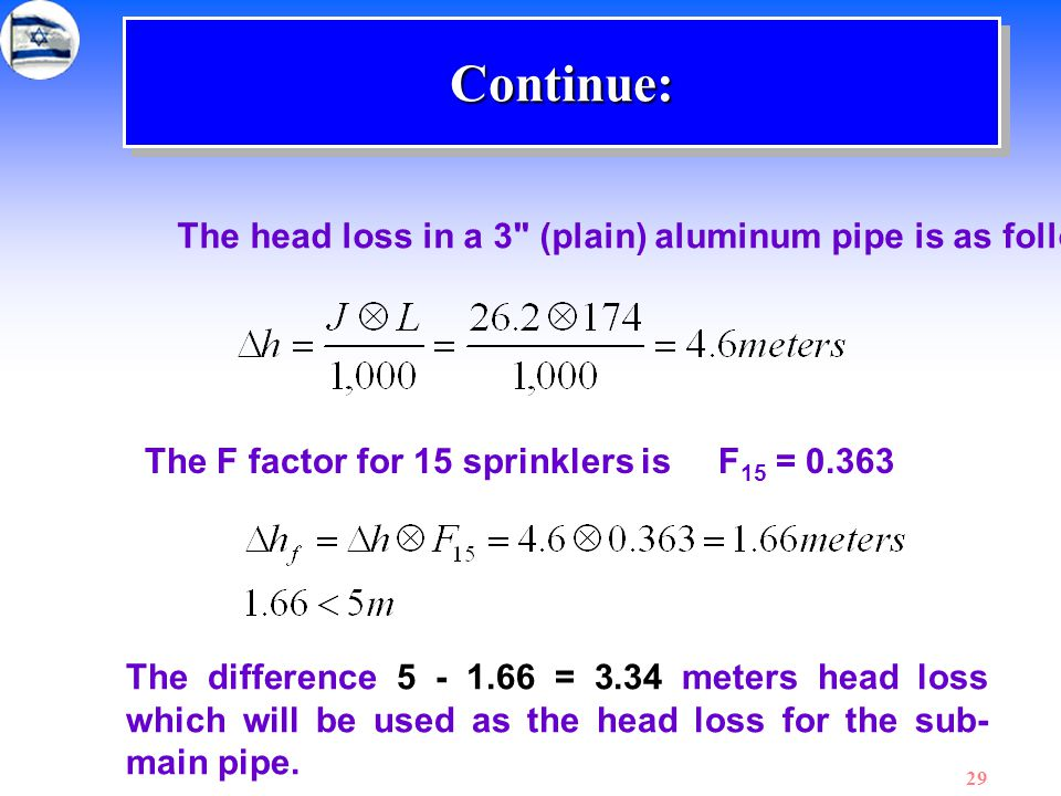 Continue: The head loss in a 3 (plain) aluminum pipe is as follows:
