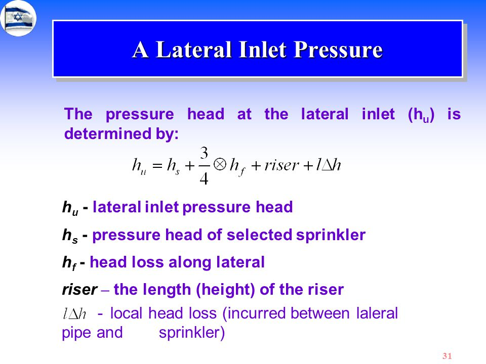 A Lateral Inlet Pressure
