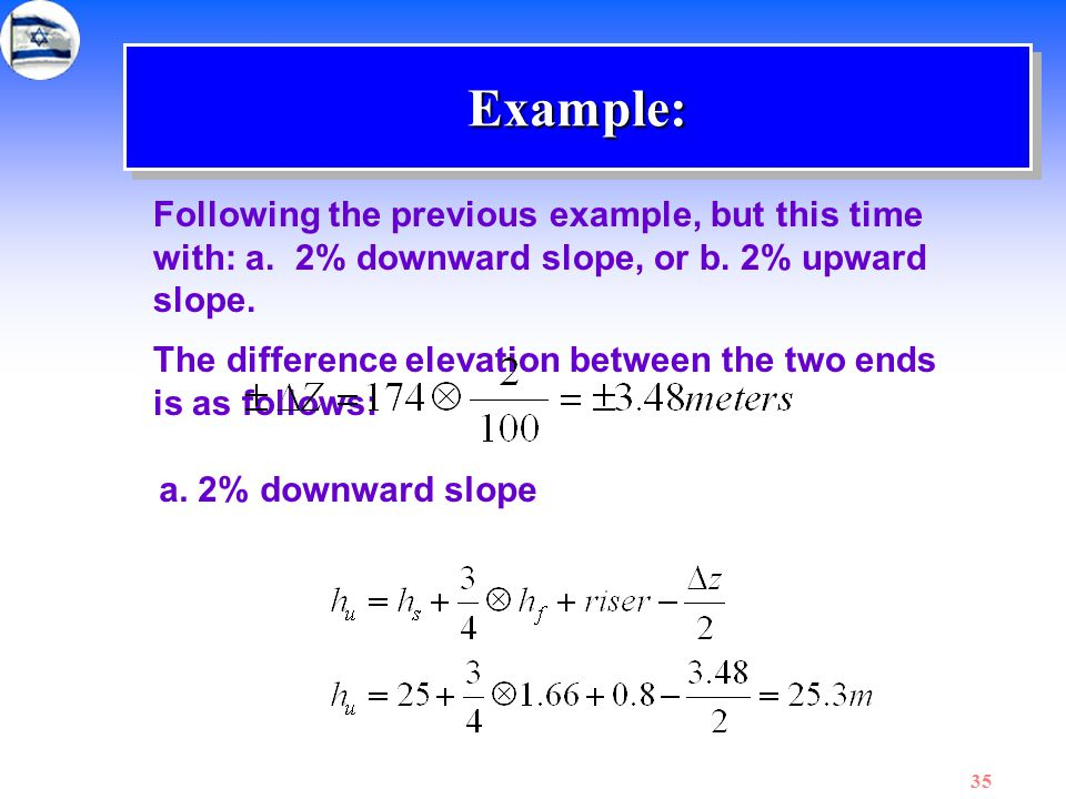 Example: Following the previous example, but this time with: a. 2% downward slope, or b. 2% upward slope.