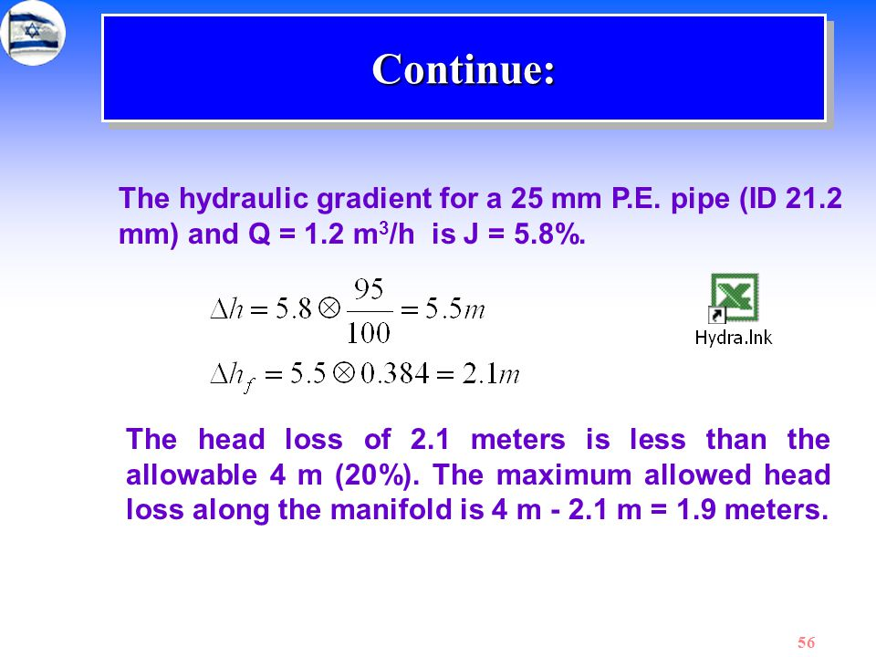 Continue: The hydraulic gradient for a 25 mm P.E. pipe (ID 21.2 mm) and Q = 1.2 m3/h is J = 5.8%.