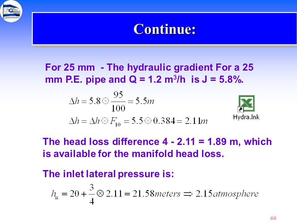 Continue: For 25 mm - The hydraulic gradient For a 25 mm P.E. pipe and Q = 1.2 m3/h is J = 5.8%.