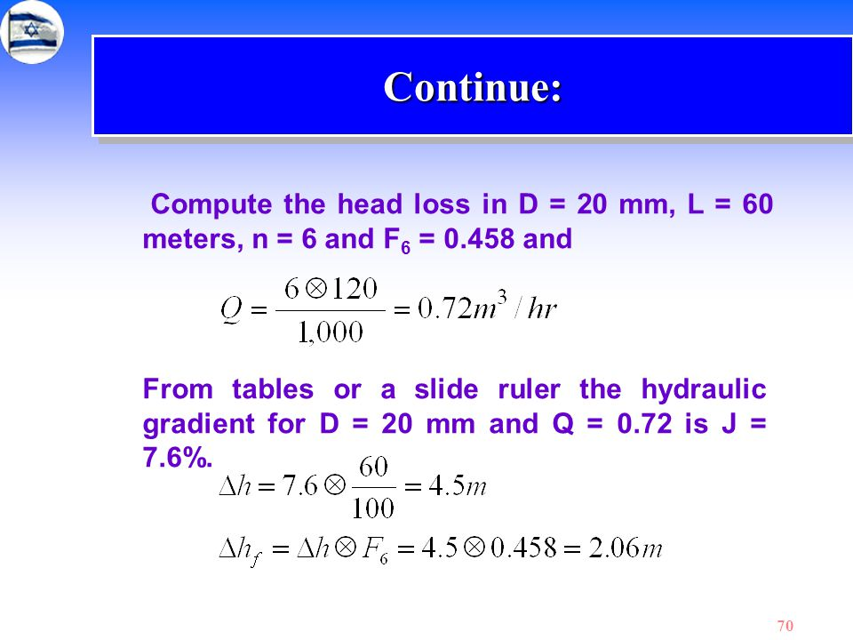 Continue: Compute the head loss in D = 20 mm, L = 60 meters, n = 6 and F6 = 0.458 and.