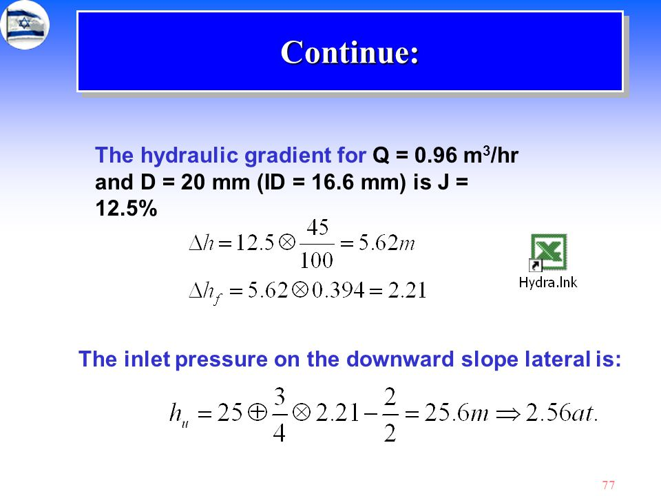 Continue: The hydraulic gradient for Q = 0.96 m3/hr and D = 20 mm (ID = 16.6 mm) is J = 12.5%