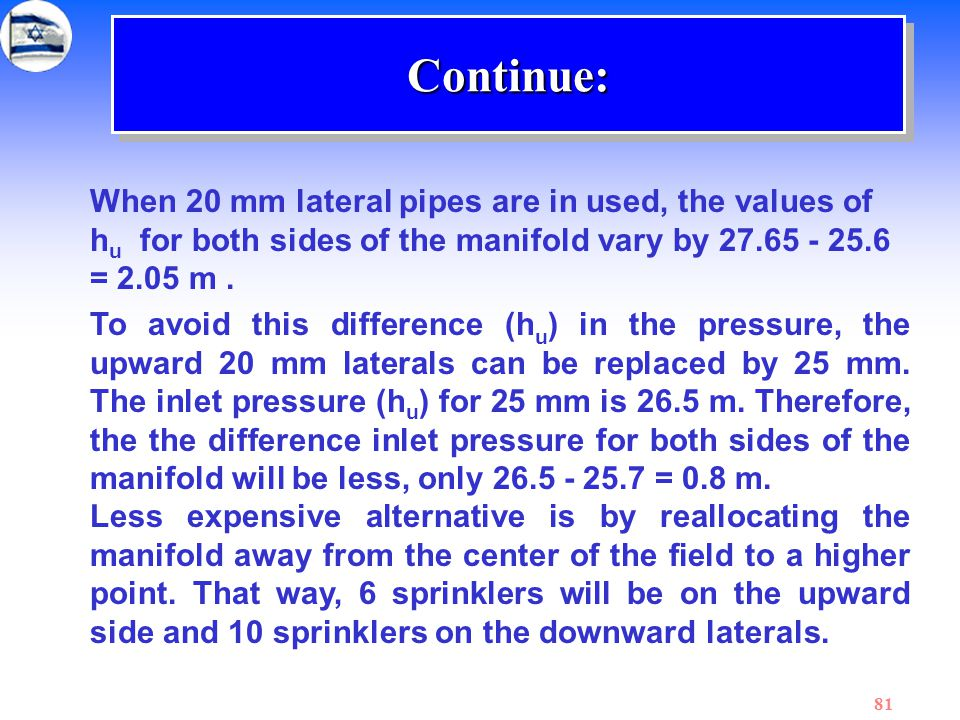 Continue: When 20 mm lateral pipes are in used, the values of hu for both sides of the manifold vary by 27.65 - 25.6 = 2.05 m .